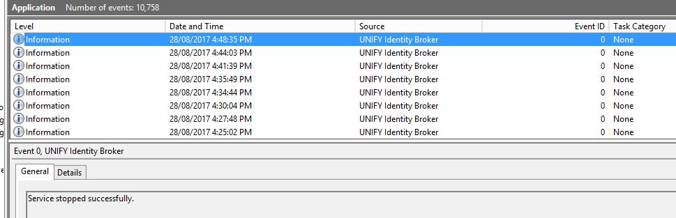 Unify Idenity Broker v 5 0 4 RTM service stops after 3-5