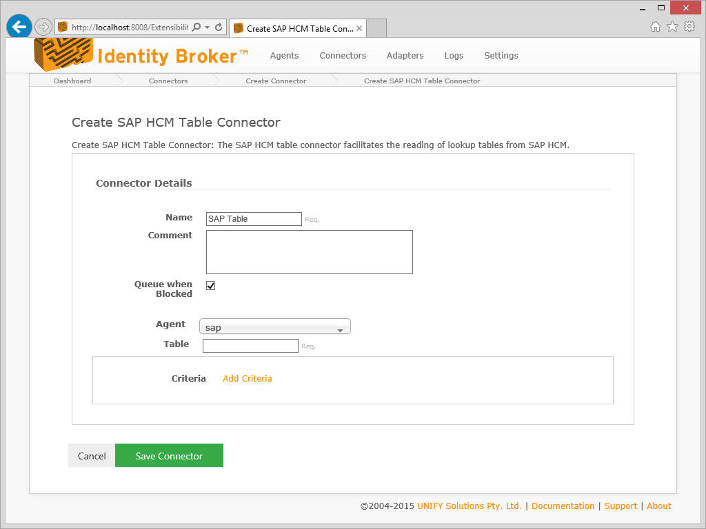 SAP HCM Read Table Connector / UNIFYBroker knowledge / UNIFY Solutions